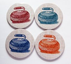 A set of 4 fun curling coasters - perfect for the winter curling season. Each coaster measures 3.5 inches (89mm) in diameter. I make my coasters using a Tecre punch. The design is sealed behind mylar. This provides protection and a nice glossy finish. There is cork on the reverse side for added protection of your furniture. Coaster Furniture, Curling, Hostess Gifts, Party Gifts, Cork, Punch, Coasters, Gift Wrapping, Pottery