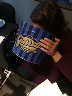 Showbiz Shelly from Chicago's B96 enjoyed our Garrett Popcorn so much that she stuck her face in the Tin one morning!