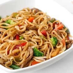 Ditch the takeout tonight and make homemade lo mein, seasoned with the everyday flavors of ginger and cinnamon. Keep it easy by using frozen Asian stir-fry vegetables. Toss everything in a wok or frying pan. Asian Recipes, Beef Recipes, Chicken Recipes, Cooking Recipes, Healthy Recipes, Ethnic Recipes, Chinese Recipes, Noddle Recipes, Recipies