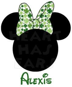 Printable DIY Minnie Mouse in St. Patrick's Day Bow digital clip art, iron on transfer for t-shirts by My Heart Has Ears