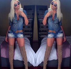 Love the denim with the thigh high boots