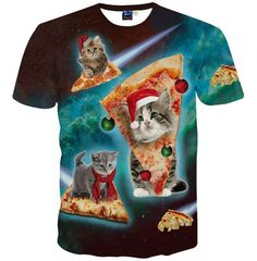 Space Kittens Riding Pizza While Wearing Santa Hats T Shirt