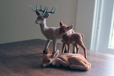 Flocked Deer Family by popstarscrafts on Etsy, $16.00