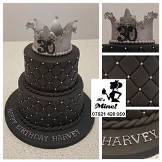 A two tier quilted black 30th birthday cake with a silver crown on top by It's Mine Cakes
