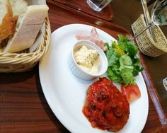 A #lunch special was #hamburger steak with tomato sauce at a... lunch hamburger cafe japan