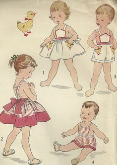 "Adorable ""brother/sister"" pattern from Simplicity. This 1953 pattern features a girl's pinafore and boy's sunsuit, plus a super cute duck transfer for embroidery on the pockets."