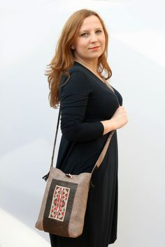 Ethnic bag, recycled leather, hand embroidery and tweed cross body bag. £47.00, via Etsy.