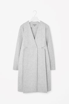COS image 4 of Structured wool coat in Light Grey