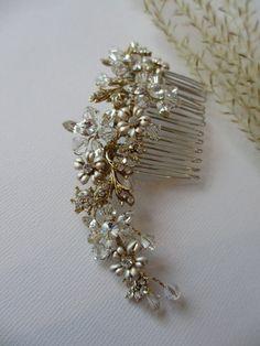 Satin Golden Swarovski Vine Hair Comb Wedding by UniqueJewelryLLC, $89.00