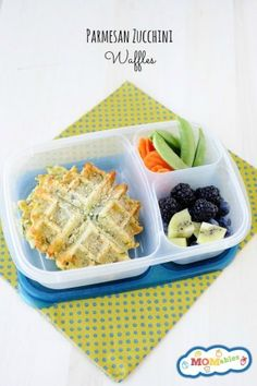 these zucchini parmesan waffles are great for dinner or a delicious healthy school lunch! Lunch Recipes, Real Food Recipes, Cooking Recipes, Yummy Food, Healthy Recipes, Easy Recipes, Yummy Lunch, Healthy Dishes, Healthy Kids