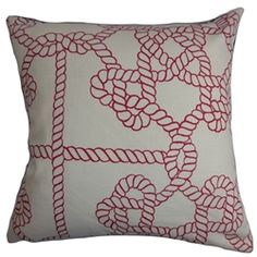 "Fun and sleek, this nautical-inspired throw pillow is perfect for this summer. Transform your home with a simple home accessory like this accent pillow. Decorated with a rope pattern in red and set against a white background, this 18"" pillow mixes well with other colors and patterns. Made with a blend of 95% cotton and 5% linen fabric. $55.00  #pillows  #coastalpillow  #nautical #homedecor"