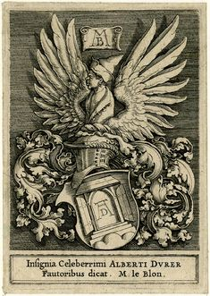Albrecht Dürer.(1471 - 1528) Family Coat of arms with a Moor.