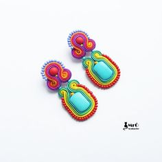Summer and colorful soutache earrings por MrOsOutache en Etsy, $50.00