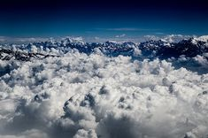 Aerial view of the Himalayas mountain range at feet Mountain Range, Aerial View, Clouds, Wall Art, Nepal, Artwork, Photography, Outdoor, Amazing