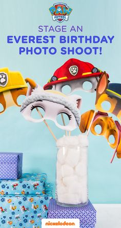 Stage an Everest Birthday Party photo shoot!  Use these printable photo booth props at your child's PAW Patrol Everest birthday party:  Simply print these PAW Patrol masks on heavyweight paper, attach them to wooden dowels, and allow kids to choose their favorite pup. Then it's lights, camera, action! They are the perfect Everest Birthday party products.