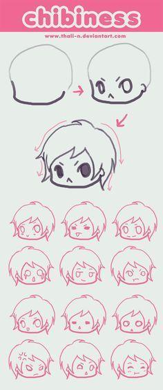 Expressions of chibi Drawing Skills, Drawing Tips, Drawing Reference, Drawing Sketches, Chibi Drawing, Chibi Sketch, Wie Zeichnet Man Manga, Manga Tutorial, Drawing Base