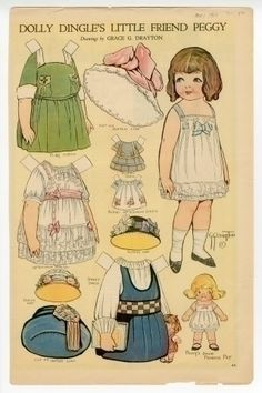 76.2938: Dolly Dingle's Little Friend Peggy  | Paper Dolls | Dolls | Online Collections | The Strong- Drayton's paper doll series included several of Dolly's companions and relatives: Billy Bumps, Joey, Teedie, Sammy, Tottie, Carol, Bessie Brooks, and, of course, Dolly's cat Kitty-Cutie and dog Frisky Fido. The characters of Dingle Dell appeared in more than 200 paper dolls for the magazine. The last was published in 1933
