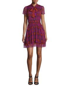 Marisa Printed Silk Tie-Neck Dress, Parry Petite Amethyst