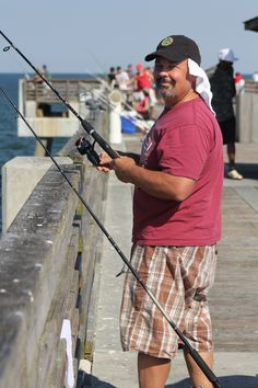 Fishing on the Jacksonville Beach pier. It was the most beautiful day. Jacksonville Beach Pier, Us Beaches, Beautiful Day, Amazing Photography, Fishing, Florida, Weather, Sea, The Florida