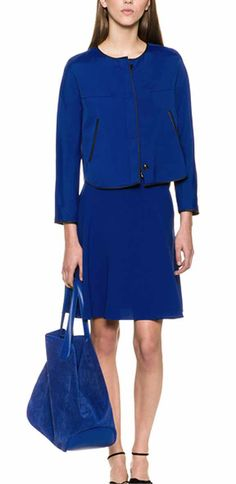 the two pieces assemble in blue by Armani, Spring 2014.