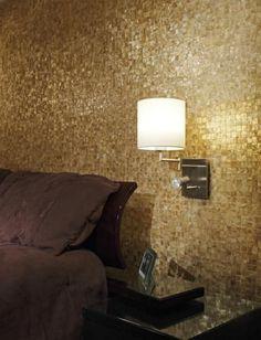 Lighting on coconut tile wall