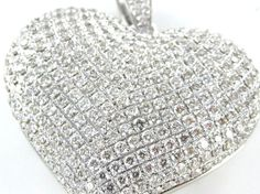 Items similar to 14 karat white gold Pave Diamond Heart Pendant Jewelry Jewel Fine luxury on Etsy Diamond Heart, Winter White, Pendant Jewelry, Beautiful Hearts, White Gold, Jewels, Luxury, Glitters, Sparkles