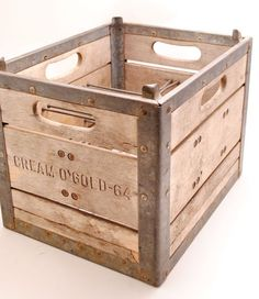 Cream O Gold Metal and Wood Milk Crate by SarahAnntiques on Etsy, $49.00