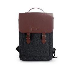 "Felt Backpack for Macbook Pro 15"", Felt satchel, Custom size, Laptop 15"" bag with Leather Shou"