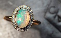 1 Carat Opal Ring with Diamond Halo - CHINCHAR•MALONEY
