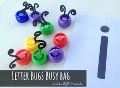 Letter Bugs Busy Bag.  Teach children their letters of the alphabet with this budget friendly game!