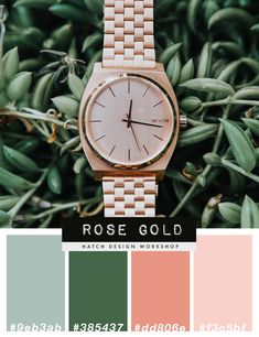 Luxury Feminine Rose Gold Color Palette Scheme Pink And Green - How To Know Which Colors Work Best For Your Brand Rose Gold Color Palette, Gold Color Palettes, Gold Palette, Green Colour Palette, Green Colors, Green Rose, Green And Gold, Web Colors, Art Deco