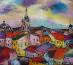 Felt Picture. Colorful City. by HappyColorfulFelting on Etsy