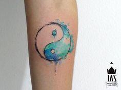 watercolor Yin and Yang by Rodrigo Tas, Sao Paulo, Brazil | small tattoos for women