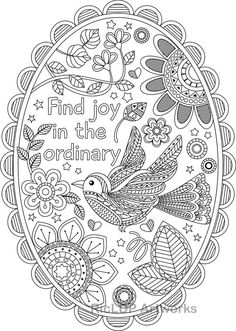 "Printable ""Find Joy in the Ordinary"" Coloring pages  with and without texts, Colouring posters for Grown-ups"