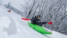 Forget about sledding down snowy hills -- hop into a kayak for an exciting twist to traditional sledding. Go snow kayaking, an extreme sport not allowed at most ski resorts. Professional competitions consist of bumps, turns and other obstacles to keep competitors' adrenaline pumping.