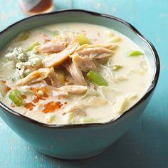 Blue cheese is the surprise flavor in this rich, cheesy, chicken soup. dinner, stew, soups, food, eat, yummi, chicken soup, soup recip, buffalo chicken