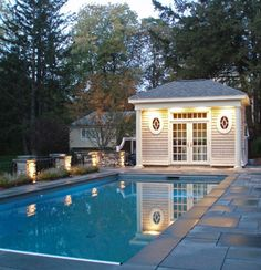 Pool House, for equipment, storage, bath and changing rooms