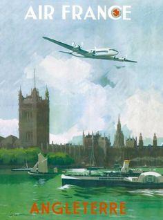 Angleterre-River-Thames-London-England-Vintage-Travel-Advertisement-Art-Poster
