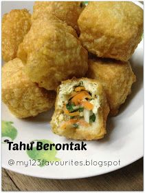Saw this deep fried stuffed tofu puff in Y3k recipes (volume 72) food magazine. This is one of the few recipes contribute by my Ah Chi to...