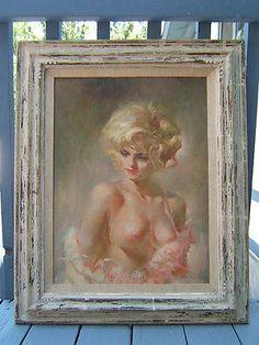 Large Signed Julian Ritter Art Nude Oil Painting 1960s Las Vegas Showgirl Era