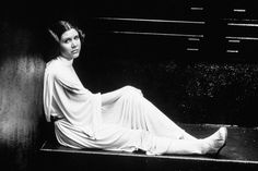 Fisher on the set of <em>Star Wars: Episode IV - A New Hope,</em> 1977. From Everett Collection.