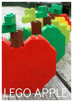 Build LEGO Apples for Kids Fall Activity. A great STEM activity for kids. LEGO apples make a great Fall themed LEGO building challenge.