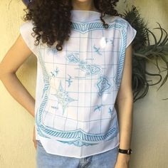 Vintage Hawaiian Tiki Map Shirt Perfect condition! Looks super chic and fun. Fits a modern size medium. Vintage Tops Blouses