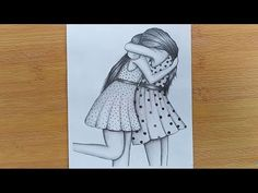 How to draw Two Friends Hugging with pencil sketch step by step/Bestfriends. Pencil Sketches Of Girls, Pencil Drawing Images, Pencil Sketch Drawing, Girl Drawing Sketches, Art Drawings Sketches Simple, Drawing Eyes, Easy Sketches To Draw, Mom Drawing, Realistic Drawings