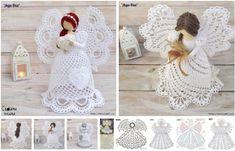 Moldes de Angeles de Navidad de Crochet Crochet Angels, Crochet Hats, Handmade Soft Toys, Crochet Christmas Ornaments, Christmas Projects, Knitting Patterns, Dolls, Xmas, Crochet Flowers