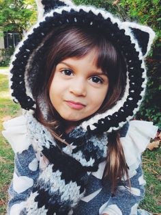 Raymond the Raccoon Hood Pattern // knitting pattern for raccoon-themed hooded scarf with hoof and tail // toddler, child, adult sizes // TwoOfWandsShop on Etsy