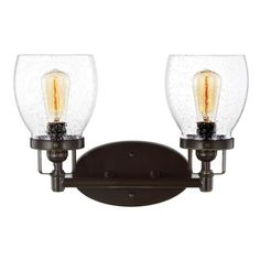 FREE SHIPPING. Purchase the Industrial Belton Vanity with clear seedy glass in Bronze for your bathroom at lightingconnection.com. Sea Gull Lighting 4414502-782