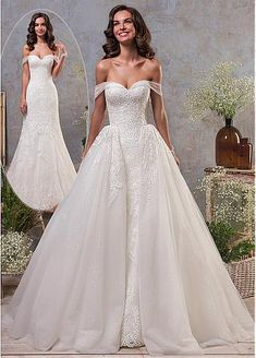 [198.80] Stunning Tulle Off-the-shoulder Neckline 2 In 1 Wedding Dress With Lace Appliques & Detachable Skirt - dressilyme.com