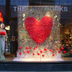 46 Lovely Valentine Window Decoration Ideas - Everyone thinks of chocolates and red roses for Valentine's Day. But there are other ways to show your Valentine how much you care that will create wo. Visual Merchandising, Shop Window Displays, Store Displays, Decoration Vitrine, Store Windows, Retail Windows, Deco Floral, Shop Front Design, Window Design