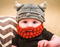 Crochet Baby Hats Viking Crochet Helmet and Beard Pattern - find loads of free patterns in our post. - You are going to love this Crochet Viking Hat With Beard Free Pattern. We have a whole collection of ideas you will love to check out. Bonnet Crochet, Crochet Baby Hats, Crochet Beanie, Cute Crochet, Crochet For Kids, Crochet Crafts, Baby Knitting, Crochet Projects, Knitted Hats